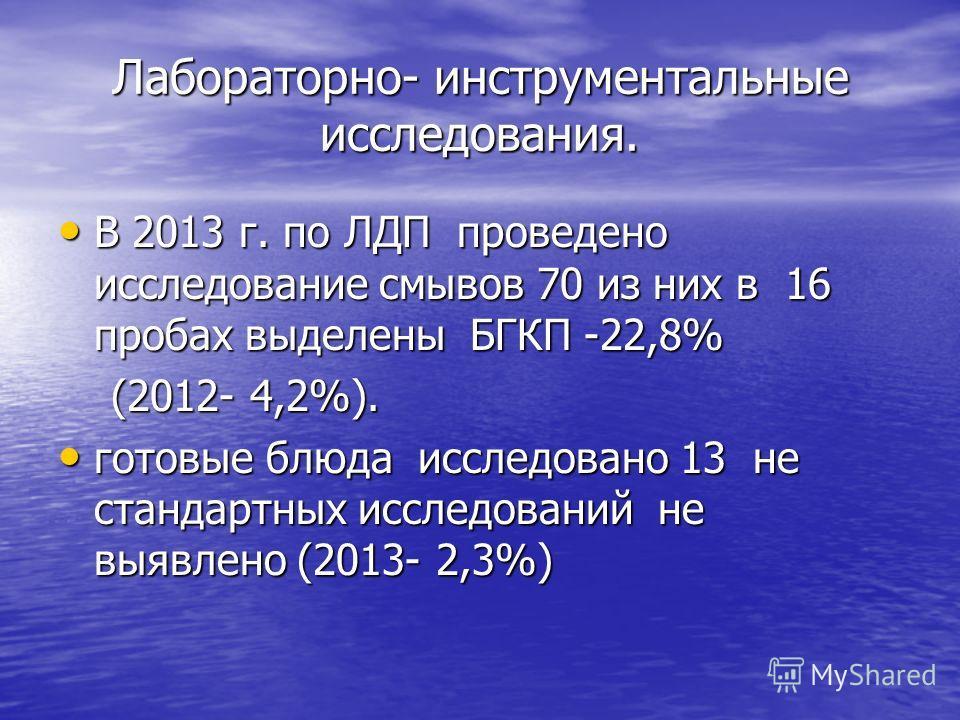 Лабораторно- инструментальные исследования. В 2013 г. по ЛДП проведено исследование смывов 70 из них в 16 пробах выделены БГКП -22,8% В 2013 г. по ЛДП проведено исследование смывов 70 из них в 16 пробах выделены БГКП -22,8% (2012- 4,2%). (2012- 4,2%)