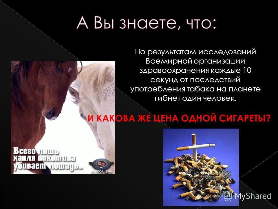 По результатам исследований Всемирной организации здравоохранения каждые 10 секунд от последствий употребления табака на планете гибнет один человек. И КАКОВА ЖЕ ЦЕНА ОДНОЙ СИГАРЕТЫ?