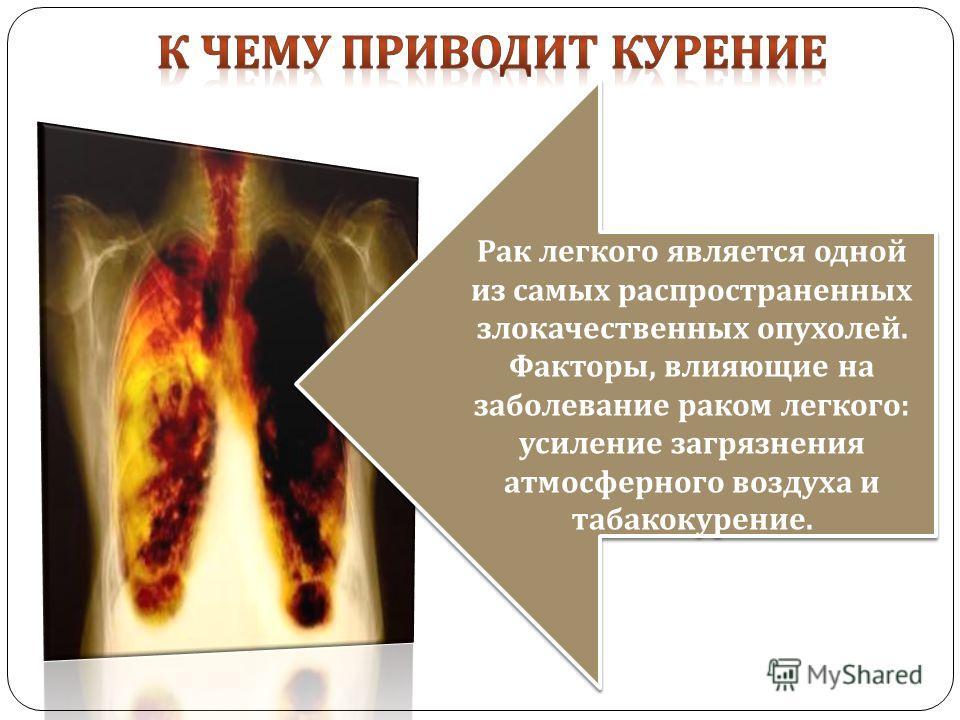 Рак легкого является одной из самых распространенных злокачественных опухолей. Факторы, влияющие на заболевание раком легкого : усиление загрязнения атмосферного воздуха и табакокурение. Рак легкого является одной из самых распространенных злокачеств