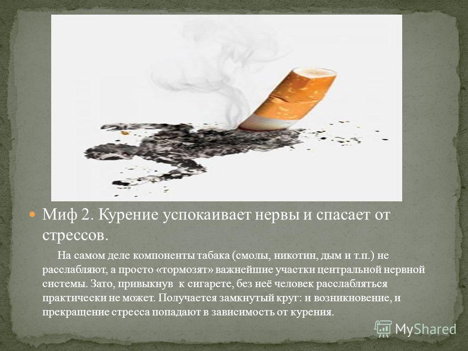 Миф 2. Курение успокаивает нервы и спасает от стрессов. На самом деле компоненты табака (смолы, никотин, дым и т.п.) не расслабляют, а просто «тормозят» важнейшие участки центральной нервной системы. Зато, привыкнув к сигарете, без неё человек рассла