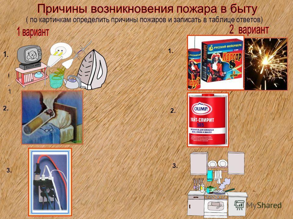( по картинкам определить причины пожаров и записать в таблице ответов) !.1.!.1. 1. 2. 3. 1.