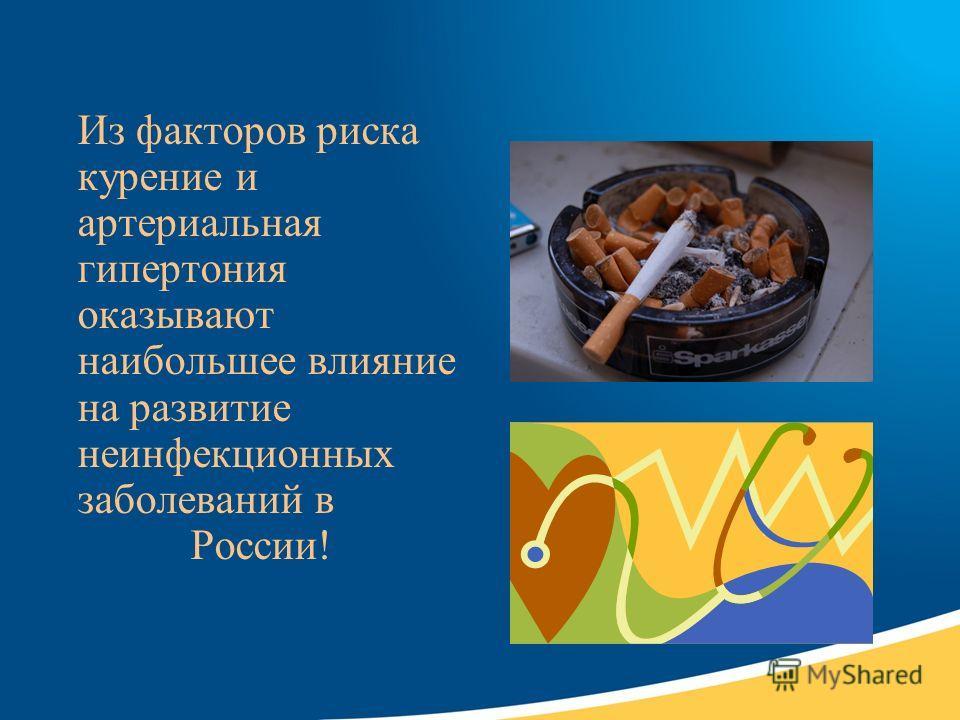 Из факторов риска курение и артериальная гипертония оказывают наибольшее влияние на развитие неинфекционных заболеваний в России!