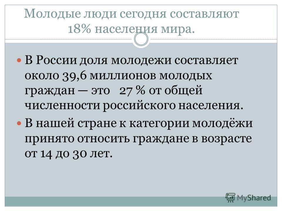 Молодые люди сегодня составляют 18% населения мира. В России доля молодежи составляет около 39,6 миллионов молодых граждан это 27 % от общей численности российского населения. В нашей стране к категории молодёжи принято относить граждане в возрасте о
