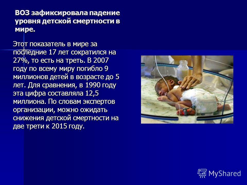 ВОЗ зафиксировала падение уровня детской смертности в мире. Этот показатель в мире за последние 17 лет сократился на 27%, то есть на треть. В 2007 году по всему миру погибло 9 миллионов детей в возрасте до 5 лет. Для сравнения, в 1990 году эта цифра