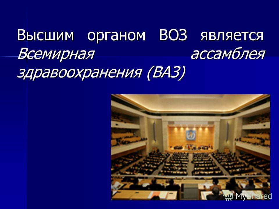 Высшим органом ВОЗ является Всемирная ассамблея здравоохранения (ВАЗ)