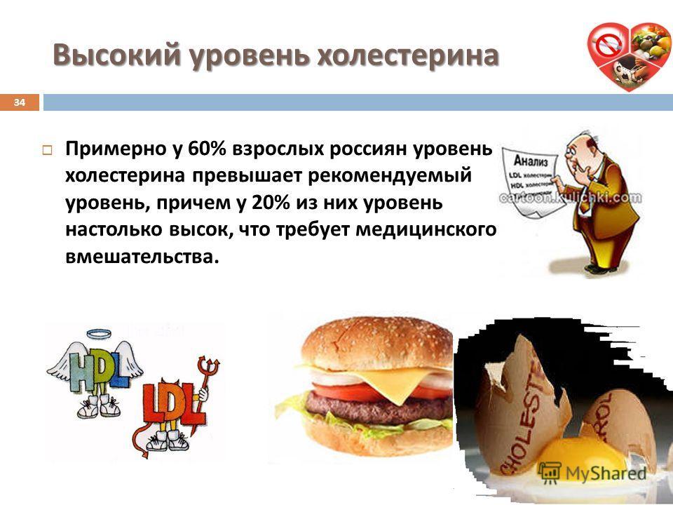 Высокий уровень холестерина Примерно у 60% взрослых россиян уровень холестерина превышает рекомендуемый уровень, причем у 20% из них уровень настолько высок, что требует медицинского вмешательства. 34