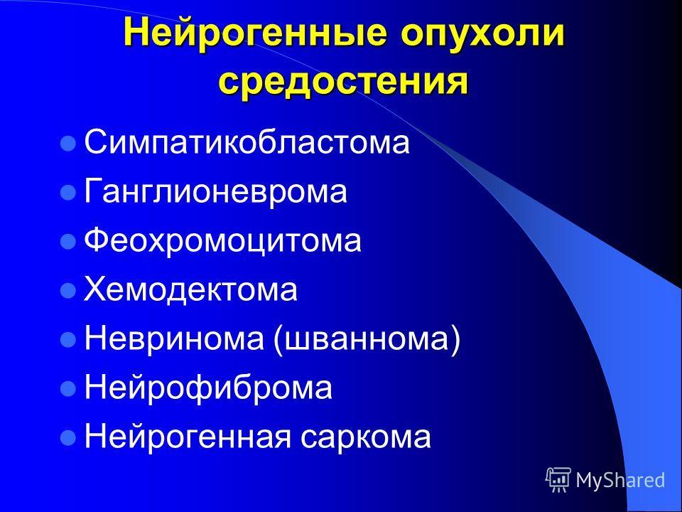 Нейрогенные опухоли средостения Симпатикобластома Ганглионеврома Феохромоцитома Хемодектома Невринома (шваннома) Нейрофиброма Нейрогенная саркома