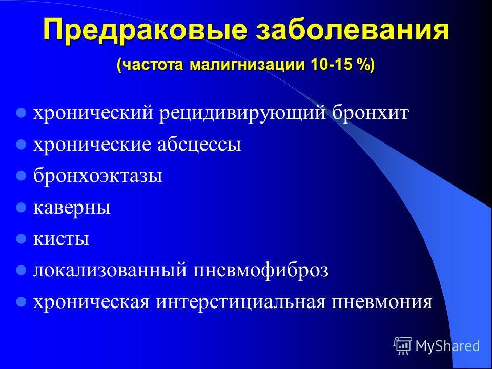 Предраковые заболевания (частота малигнизации 10-15 %) хронический рецидивирующий бронхит хронические абсцессы бронхоэктазы каверны кисты локализованный пневмофиброз хроническая интерстициальная пневмония