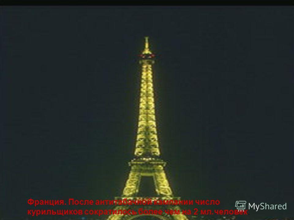 Франция. После антитабачной кампании число курильщиков сократилось более чем на 2 мл.человек.