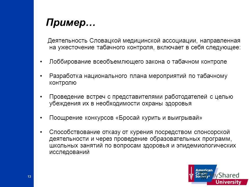 13 Пример… Деятельность Словацкой медицинской ассоциации, направленная на ужесточение табачного контроля, включает в себя следующее: Лоббирование всеобъемлющего закона о табачном контроле Разработка национального плана мероприятий по табачному контро