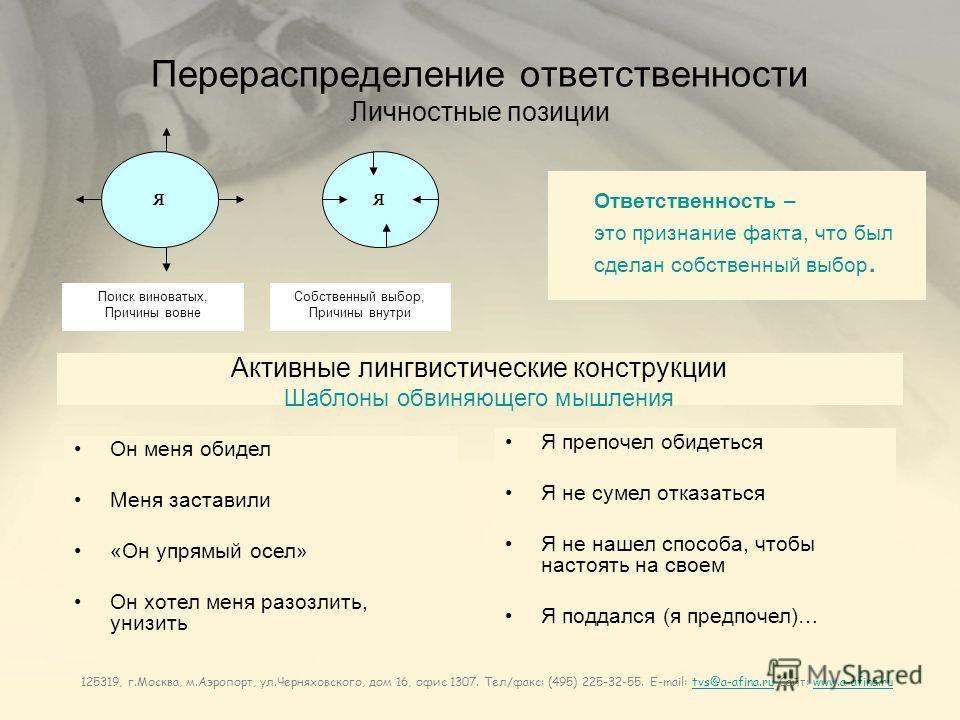 125319, г.Москва, м.Аэропорт, ул.Черняховского, дом 16, офис 1307. Тел/факс: (495) 225-32-55. E-mail: tvs@a-afina.ru Сайт: www.a-afina.rutvs@a-afina.ruwww.a-afina.ru Перераспределение ответственности Личностные позиции Ответственность – это признание