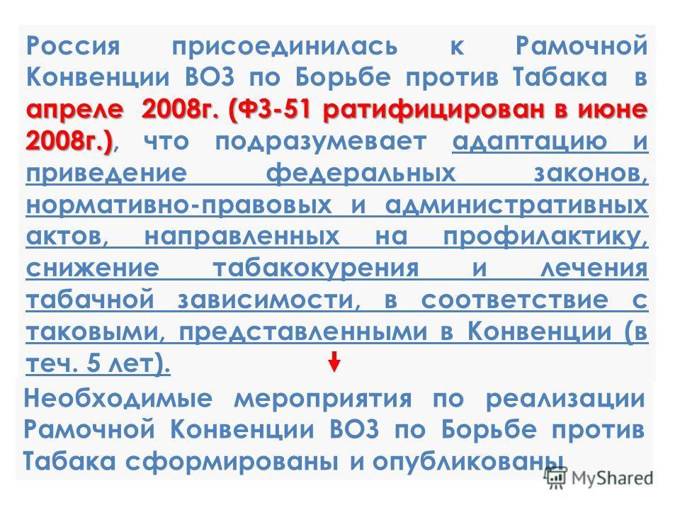 апреле 2008 г. (ФЗ-51 ратифицирован в июне 2008 г.) Россия присоединилась к Рамочной Конвенции ВОЗ по Борьбе против Табака в апреле 2008 г. (ФЗ-51 ратифицирован в июне 2008 г.), что подразумевает адаптацию и приведение федеральных законов, нормативно