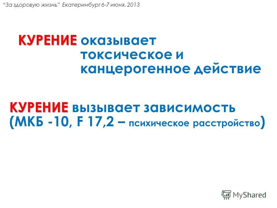 КУРЕНИЕ КУРЕНИЕ оказывает токсическое и канцерогенное действие КУРЕНИЕ КУРЕНИЕ вызывает зависимость (МКБ -10, F 17,2 – психическое расстройство ) За здоровую жизнь Екатеринбург 6-7 июня, 2013