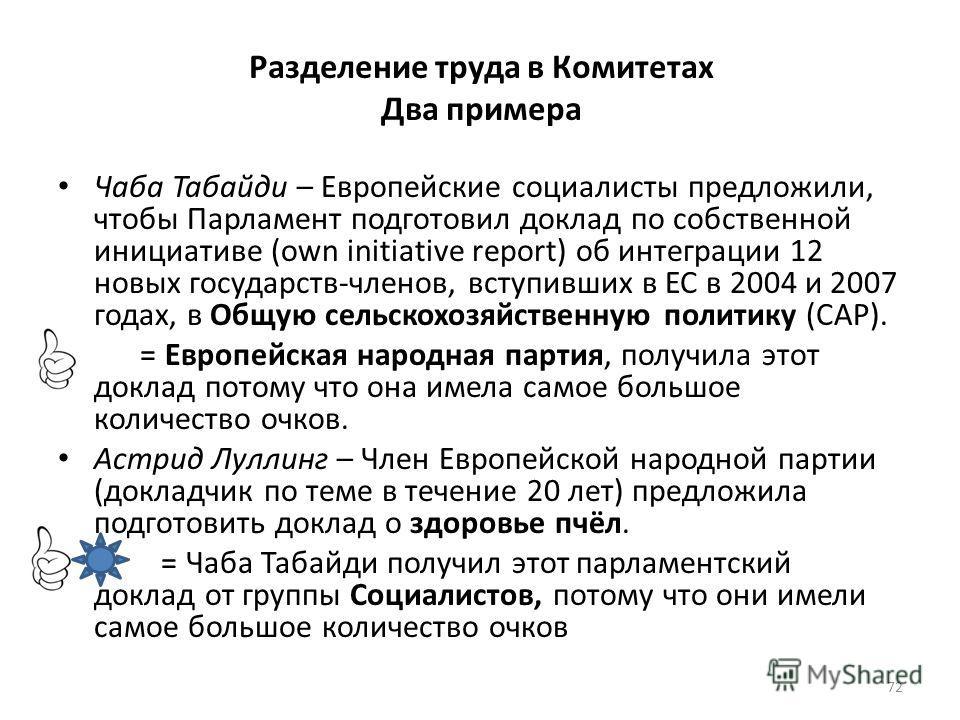 Разделение труда в Комитетах Два примера Чаба Табайди – Европейские социалисты предложили, чтобы Парламент подготовил доклад по собственной инициативе (own initiative report) об интеграции 12 новых государств-членов, вступивших в ЕС в 2004 и 2007 год