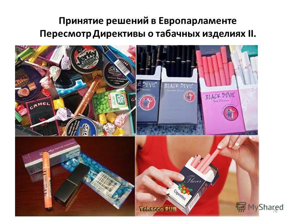 Принятие решений в Европарламенте Пересмотр Директивы о табачных изделиях II. 76