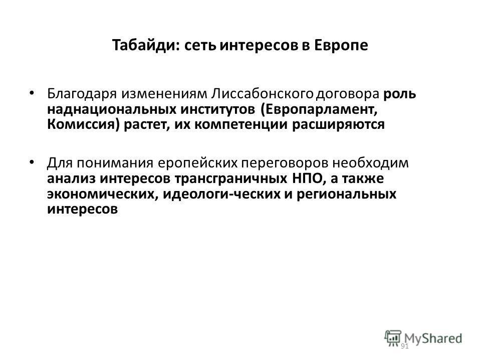 91 Табайди: сеть интересов в Европе Благодаря изменениям Лиссабонского договора роль наднациональных институтов (Европарламент, Комиссия) растет, их компетенции расширяются Для понимания еропейских переговоров необходим анализ интересов трансграничны
