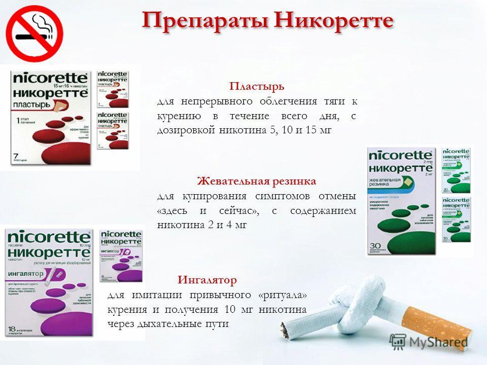 Препараты Никоретте Жевательная резинка для купирования симптомов отмены «здесь и сейчас», с содержанием никотина 2 и 4 мг Пластырь для непрерывного облегчения тяги к курению в течение всего дня, с дозировкой никотина 5, 10 и 15 мг Ингалятор для имит