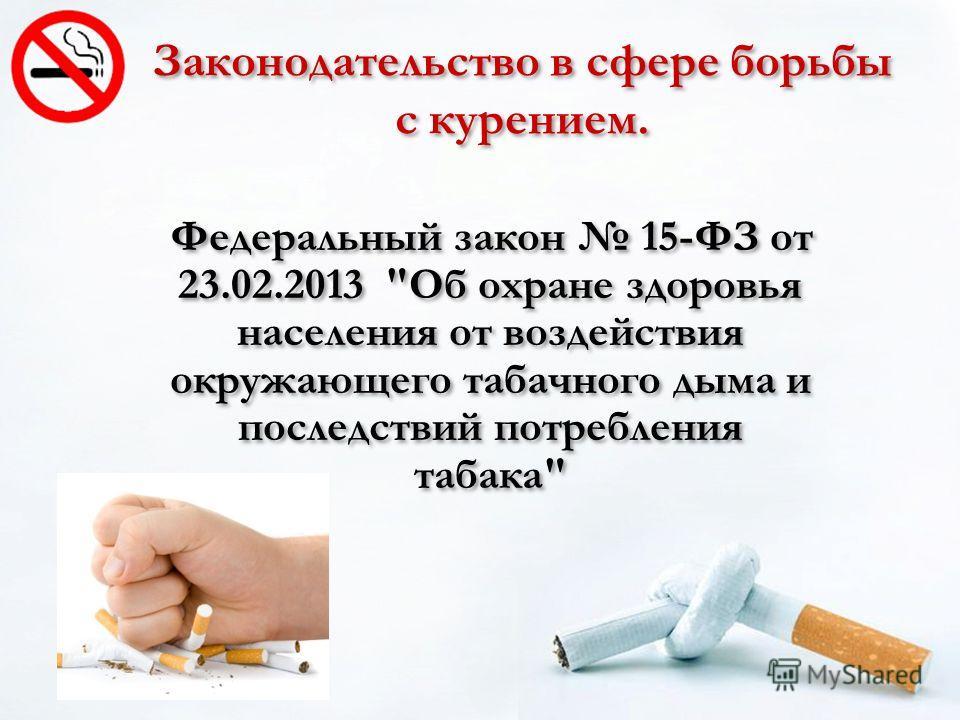 Федеральный закон 15-ФЗ от 23.02.2013 Об охране здоровья населения от воздействия окружающего табачного дыма и последствий потребления табака Законодательство в сфере борьбы с курением.