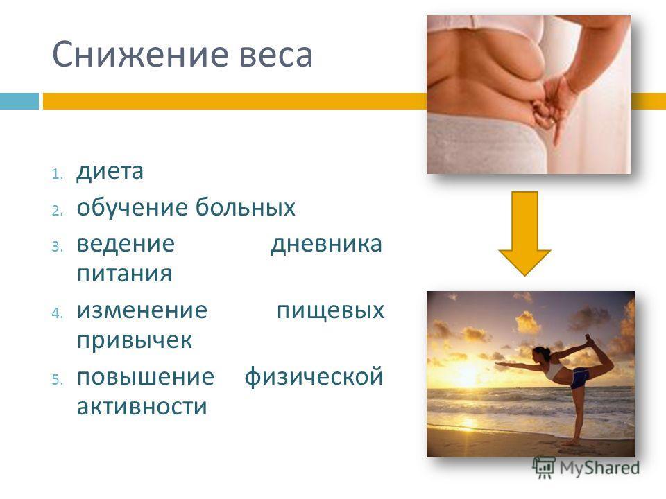 Снижение веса 1. диета 2. обучение больных 3. ведение дневника питания 4. изменение пищевых привычек 5. повышение физической активности