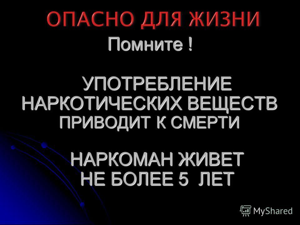 Помните ! Помните ! УПОТРЕБЛЕНИЕ УПОТРЕБЛЕНИЕ НАРКОТИЧЕСКИХ ВЕЩЕСТВ ПРИВОДИТ К СМЕРТИ НАРКОМАН ЖИВЕТ НАРКОМАН ЖИВЕТ НЕ БОЛЕЕ 5 ЛЕТ НЕ БОЛЕЕ 5 ЛЕТ Помните ! УПОТРЕБЛЕНИЕ НАРКОТИЧЕСКИХ ВЕЩЕСТВ ПРИВОДИТ К СМЕРТИ НАРКОМАН ЖИВЕТ НЕ БОЛЕЕ 5 ЛЕТ