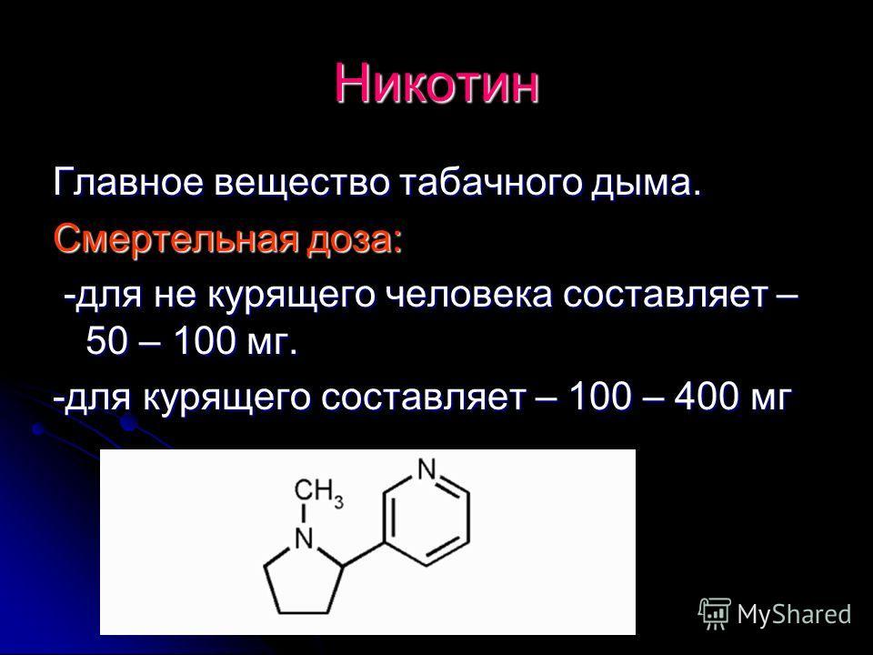 Никотин Главное вещество табачного дыма. Смертельная доза: -для не курящего человека составляет – 50 – 100 мг. -для курящего составляет – 100 – 400 мг