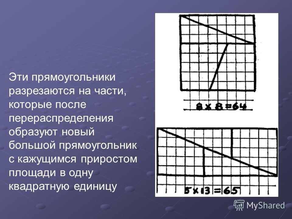Эти прямоугольники разрезаются на части, которые после перераспределения образуют новый большой прямоугольник с кажущимся приростом площади в одну квадратную единицу