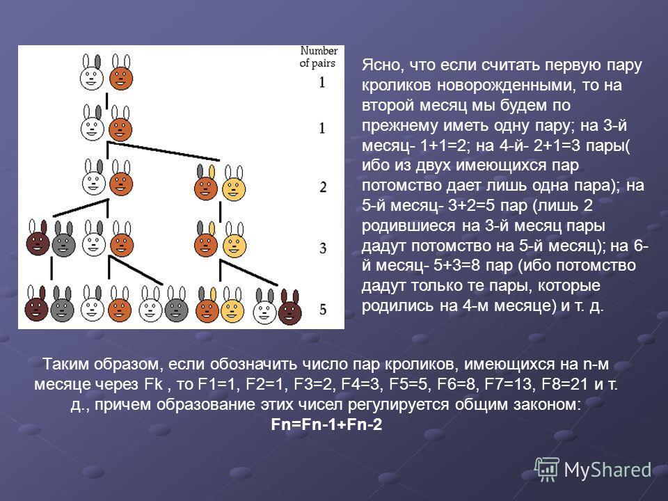 Ясно, что если считать первую пару кроликов новорожденными, то на второй месяц мы будем по прежнему иметь одну пару; на 3-й месяц- 1+1=2; на 4-й- 2+1=3 пары( ибо из двух имеющихся пар потомство дает лишь одна пара); на 5-й месяц- 3+2=5 пар (лишь 2 ро