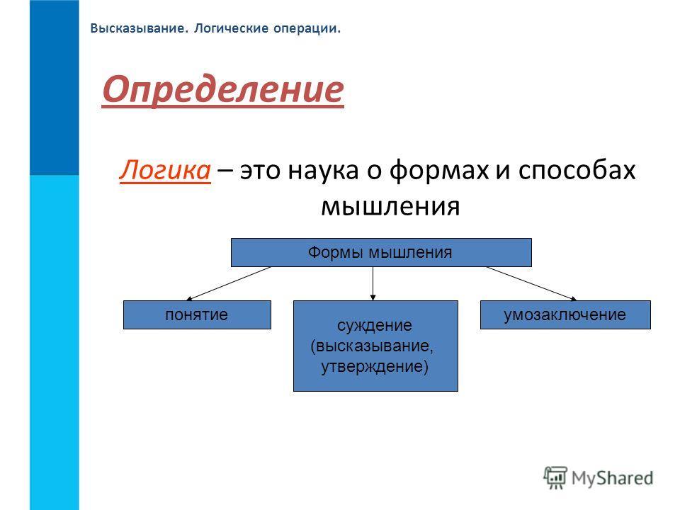 Высказывание. Логические операции. Определение Логика – это наука о формах и способах мышления Формы мышления понятие суждение (высказывание, утверждение) умозаключение