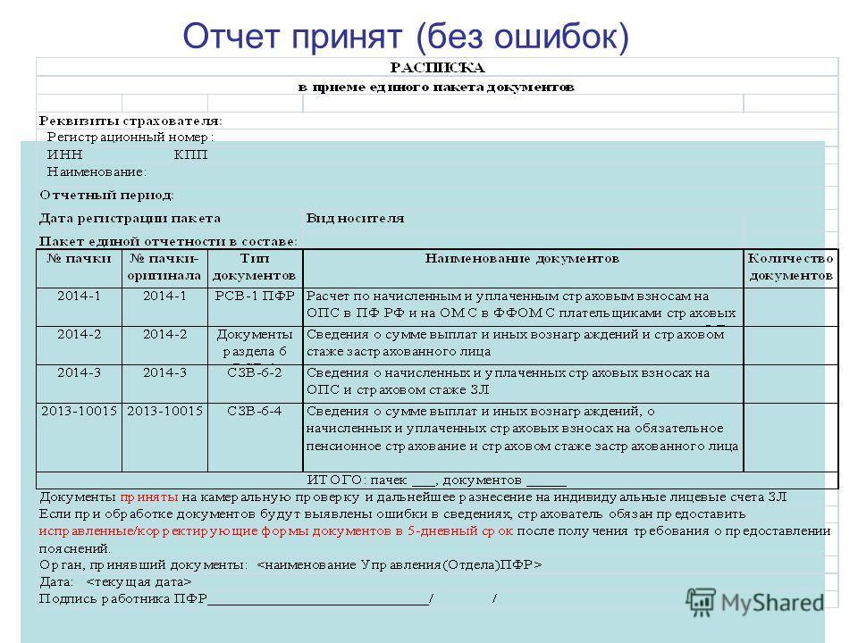 Отчет принят (без ошибок)