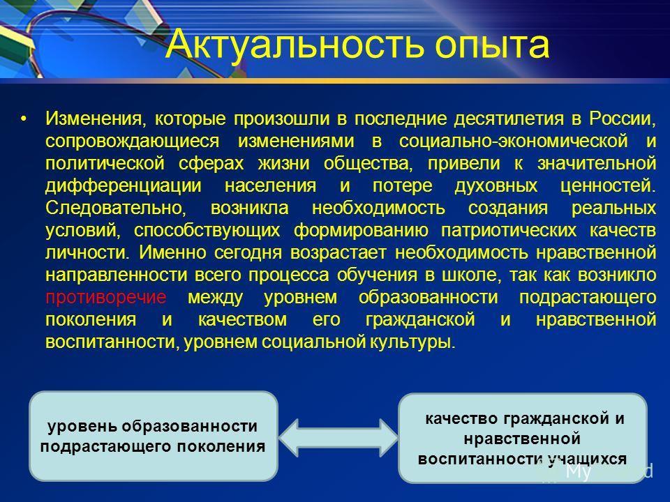 Актуальность опыта Изменения, которые произошли в последние десятилетия в России, сопровождающиеся изменениями в социально-экономической и политической сферах жизни общества, привели к значительной дифференциации населения и потере духовных ценностей