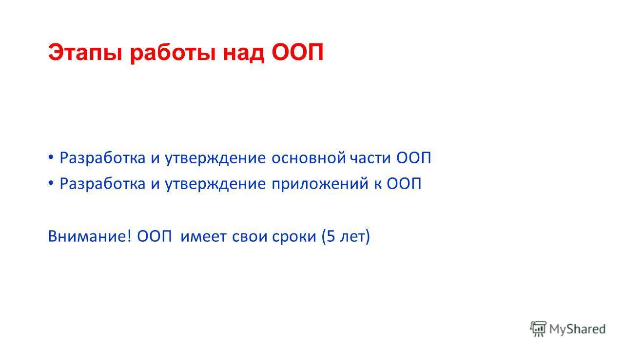 Этапы работы над ООП Разработка и утверждение основной части ООП Разработка и утверждение приложений к ООП Внимание! ООП имеет свои сроки (5 лет)