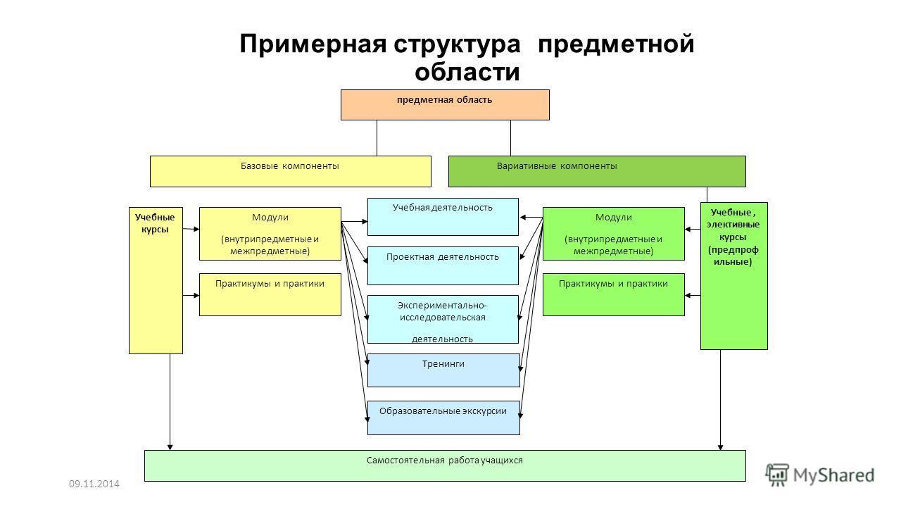 Примерная структура предметной области предметная область Базовые компоненты Учебные курсы Модули (внутрипредметные и межпредметные) Практикумы и практики Самостоятельная работа учащихся Экспериментально- исследовательская деятельность Проектная деят