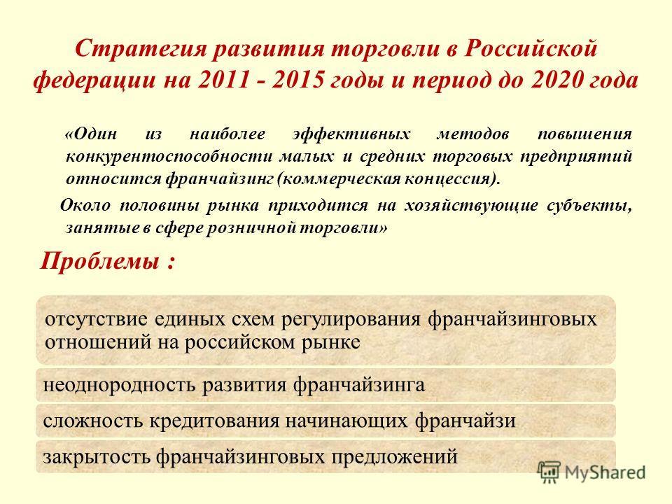 Стратегия развития торговли в Российской федерации на 2011 - 2015 годы и период до 2020 года «Один из наиболее эффективных методов повышения конкурентоспособности малых и средних торговых предприятий относится франчайзинг (коммерческая концессия). Ок