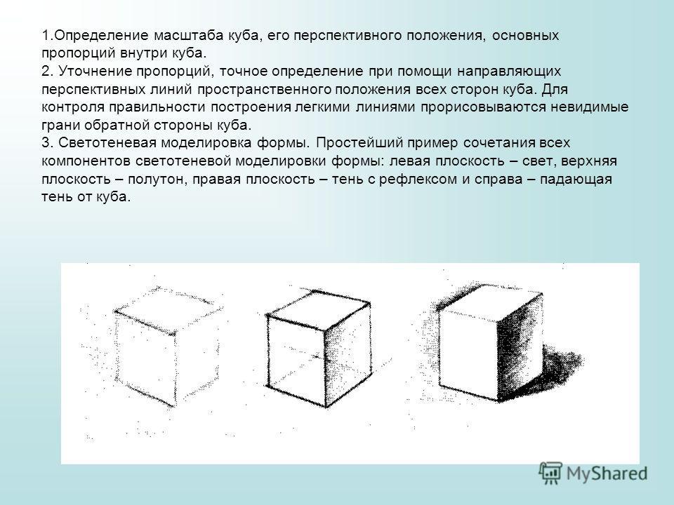 1. Определение масштаба куба, его перспективного положения, основных пропорций внутри куба. 2. Уточнение пропорций, точное определение при помощи направляющих перспективных линий пространственного положения всех сторон куба. Для контроля правильности