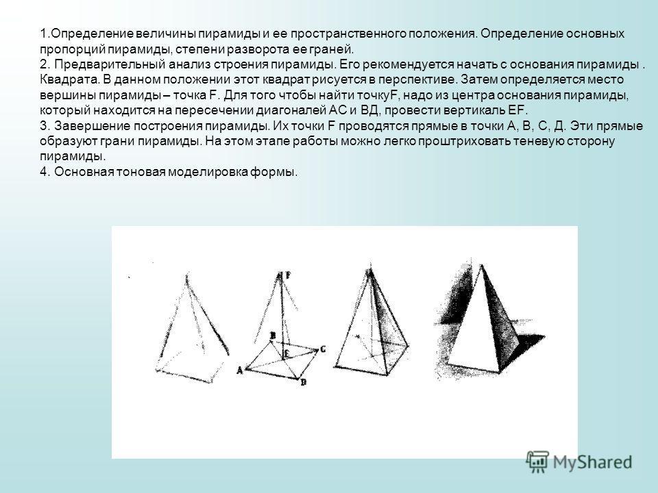1. Определение величины пирамиды и ее пространственного положения. Определение основных пропорций пирамиды, степени разворота ее граней. 2. Предварительный анализ строения пирамиды. Его рекомендуется начать с основания пирамиды. Квадрата. В данном по