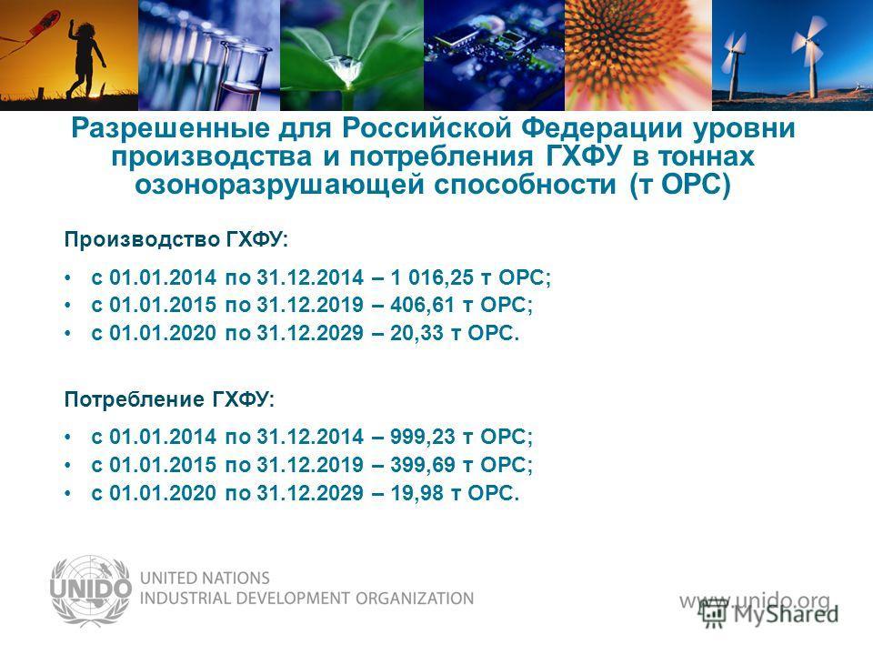 Разрешенные для Российской Федерации уровни производства и потребления ГХФУ в тоннах озоноразрушающей способности (т ОРС) Производство ГХФУ: с 01.01.2014 по 31.12.2014 – 1 016,25 т ОРС; с 01.01.2015 по 31.12.2019 – 406,61 т ОРС; с 01.01.2020 по 31.12