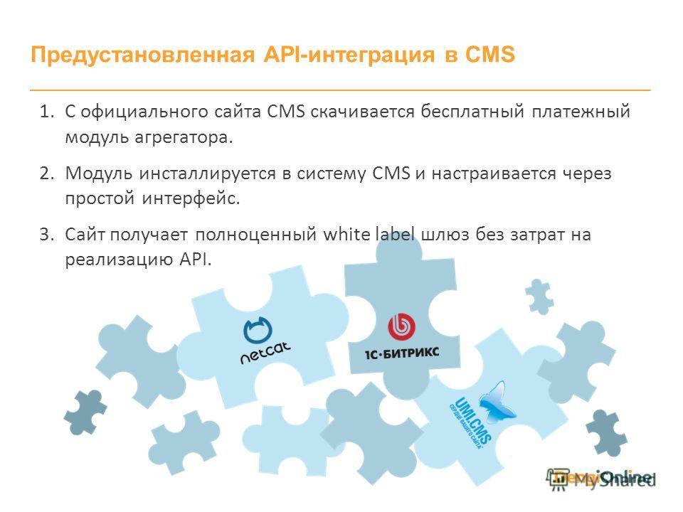 Предустановленная API-интеграция в CMS 1. С официального сайта CMS скачивается бесплатный платежный модуль агрегатора. 2. Модуль инсталлируется в систему CMS и настраивается через простой интерфейс. 3. Сайт получает полноценный white label шлюз без з