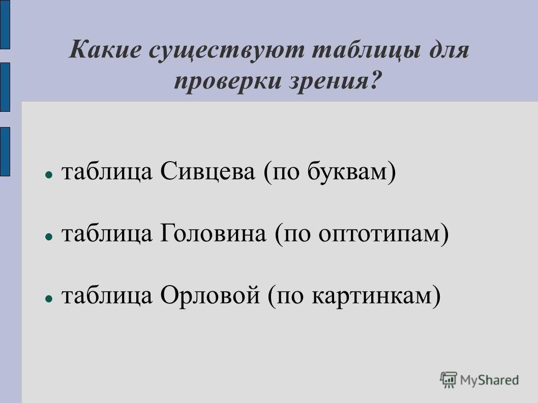 Какие существуют таблицы для проверки зрения? таблица Сивцева (по буквам) таблица Головина (по оптотипам) таблица Орловой (по картинкам)