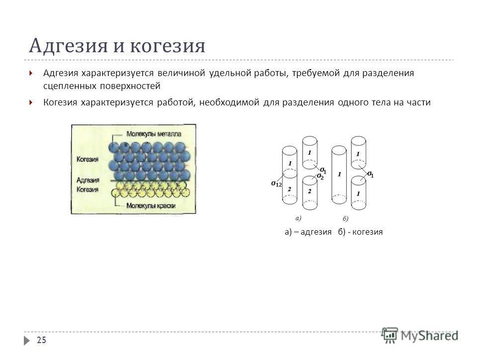 Адгезия и когезия Адгезия характеризуется величиной удельной работы, требуемой для разделения сцепленных поверхностей Когезия характеризуется работой, необходимой для разделения одного тела на части 25 а ) – адгезия б ) - когезия