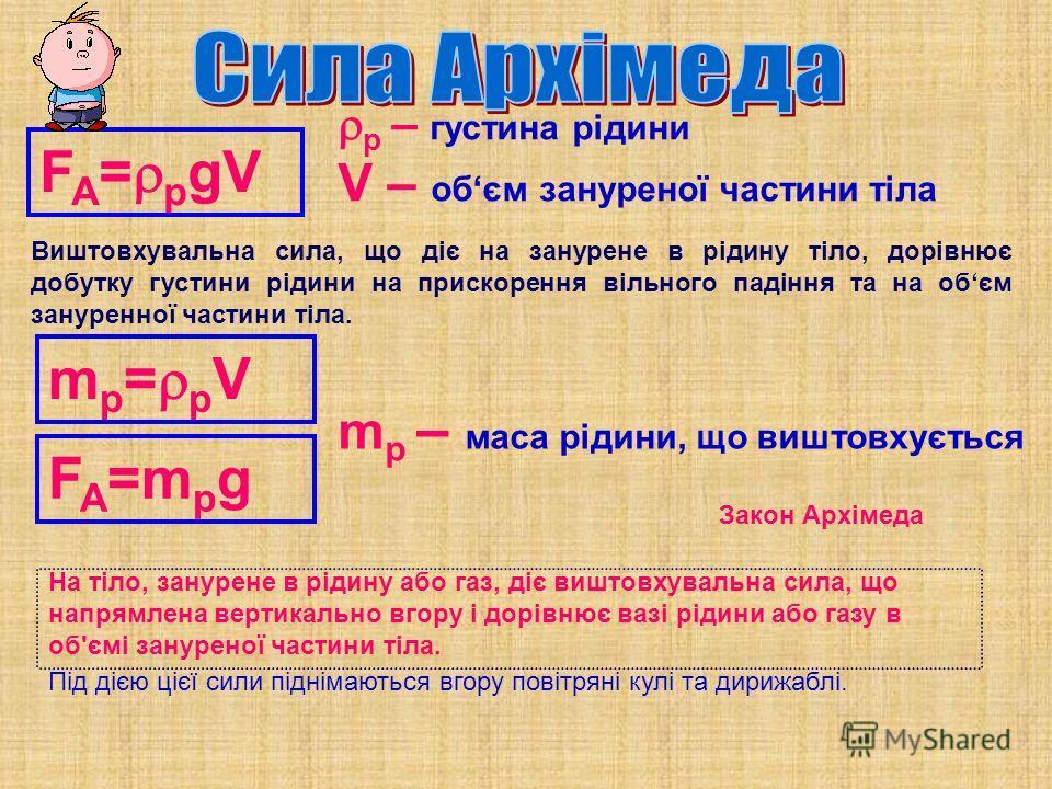 F A = р gV р – густина рідини V – обєм зануреної частини тіла m р = р V F A =m р g m р – масса рідини, що виштовхується Виштовхувальна сила, що діє на занурене в рідину тіло, дорівнює добутку густина рідини на прискорення вільного падіння та на обєм
