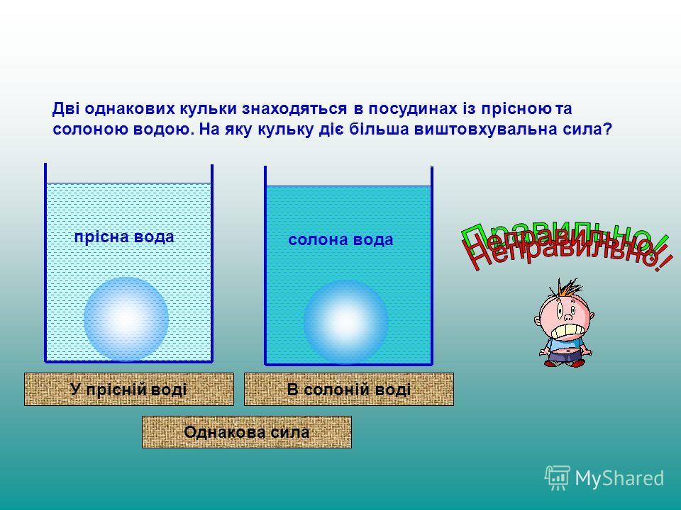 Дві одинаковых кульки знаходяться в посудинах із прісною та солоною водою. На яку кульку діє більша виштовхувальна сила? прісна вода солона вода У прісній водіВ солоній воді Однакова сила