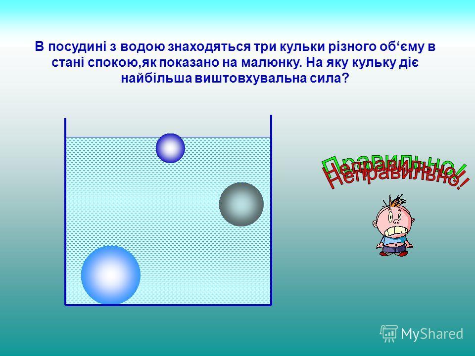 В посудині з водою знаходяться три кульки різного обєму в стані спокою,як показано на малюнку. На яку кульку діє найбільша виштовхувальна сила?