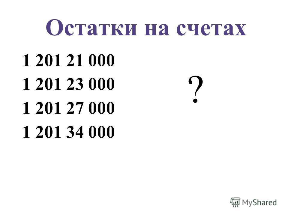 Остатки на счетах 1 201 21 000 1 201 23 000 1 201 27 000 1 201 34 000 ?