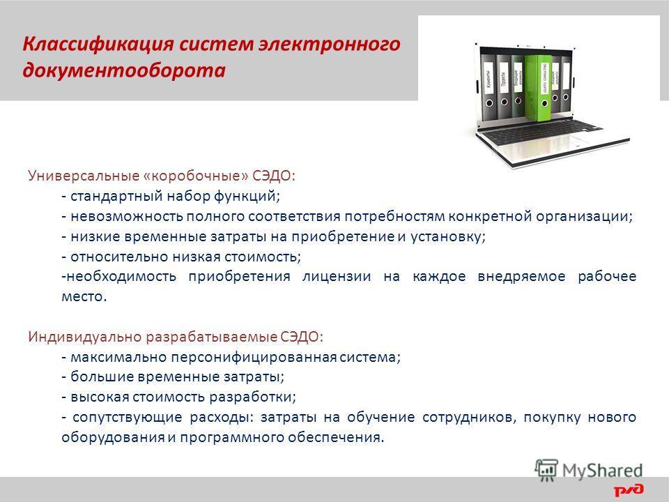 Универсальные «коробочные» СЭДО: - стандартный набор функций; - невозможность полного соответствия потребностям конкретной организации; - низкие временные затраты на приобретение и установку; - относительно низкая стоимость; -необходимость приобретен