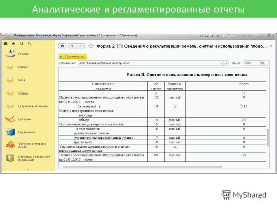 Аналитические и регламентированные отчеты 29