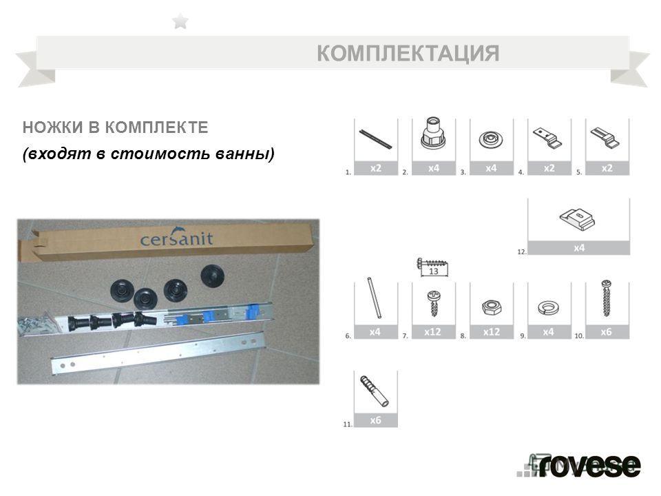 КОМПЛЕКТАЦИЯ НОЖКИ В КОМПЛЕКТЕ (входят в стоимость ванны)