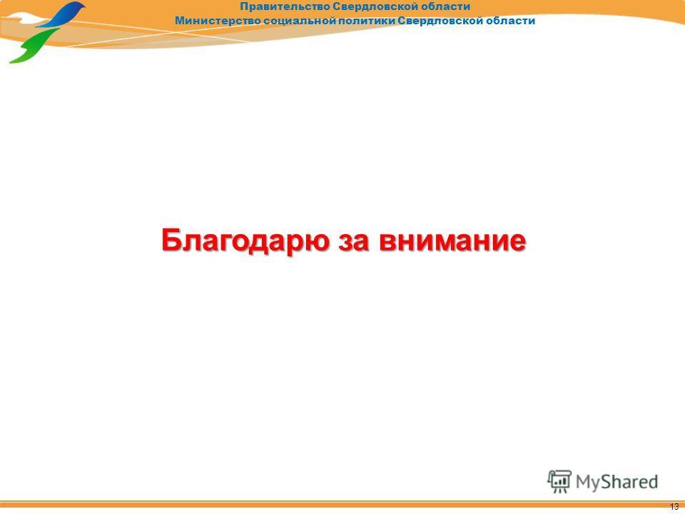 Правительство Свердловской области Министерство социальной политики Свердловской области Благодарю за внимание 13