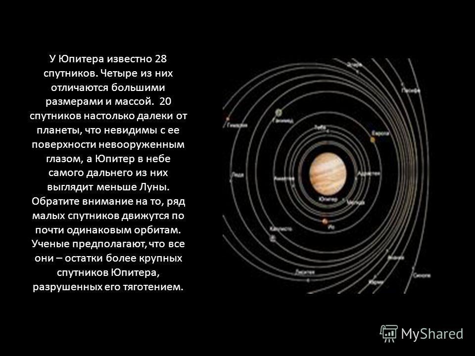 У Юпитера известно 28 спутников. Четыре из них отличаются большими размерами и массой. 20 спутников настолько далеки от планеты, что невидимы с ее поверхности невооруженным глазом, а Юпитер в небе самого дальнего из них выглядит меньше Луны. Обратите