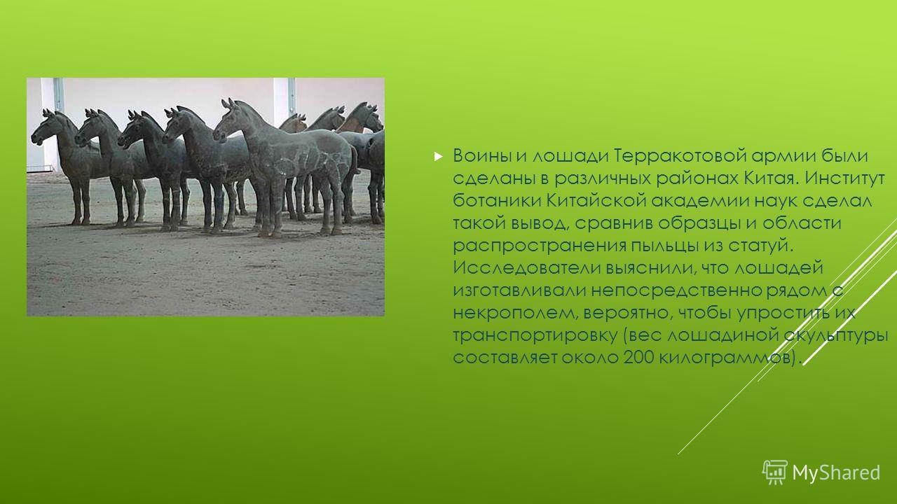 Воины и лошади Терракотовой армии были сделаны в различных районах Китая. Институт ботаники Китайской академии наук сделал такой вывод, сравнив образцы и области распространения пыльцы из статуй. Исследователи выяснили, что лошадей изготавливали непо