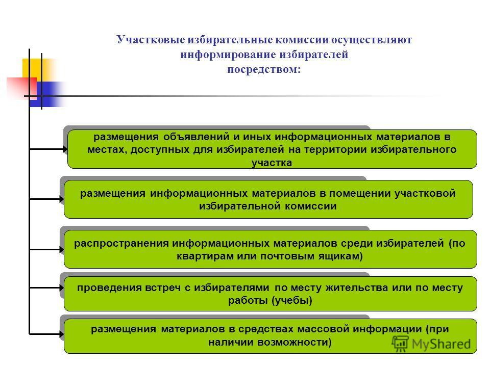 размещения объявлений и иных информационных материалов в местах, доступных для избирателей на территории избирательного участка размещения информационных материалов в помещении участковой избирательной комиссии распространения информационных материал
